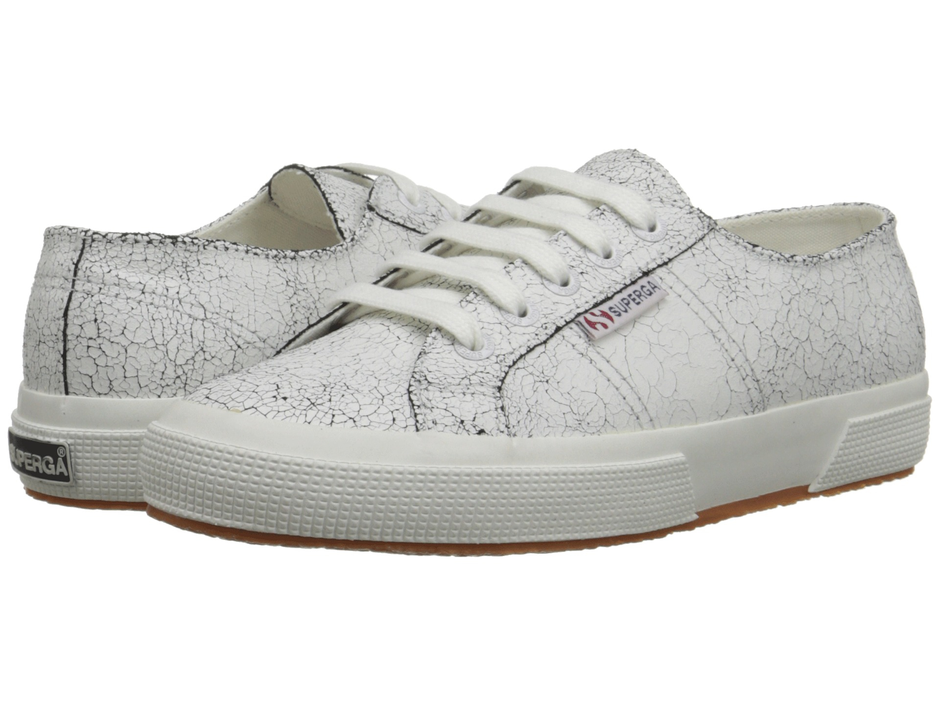 Womens Shoes Superga 2750 Cracked LEAW White