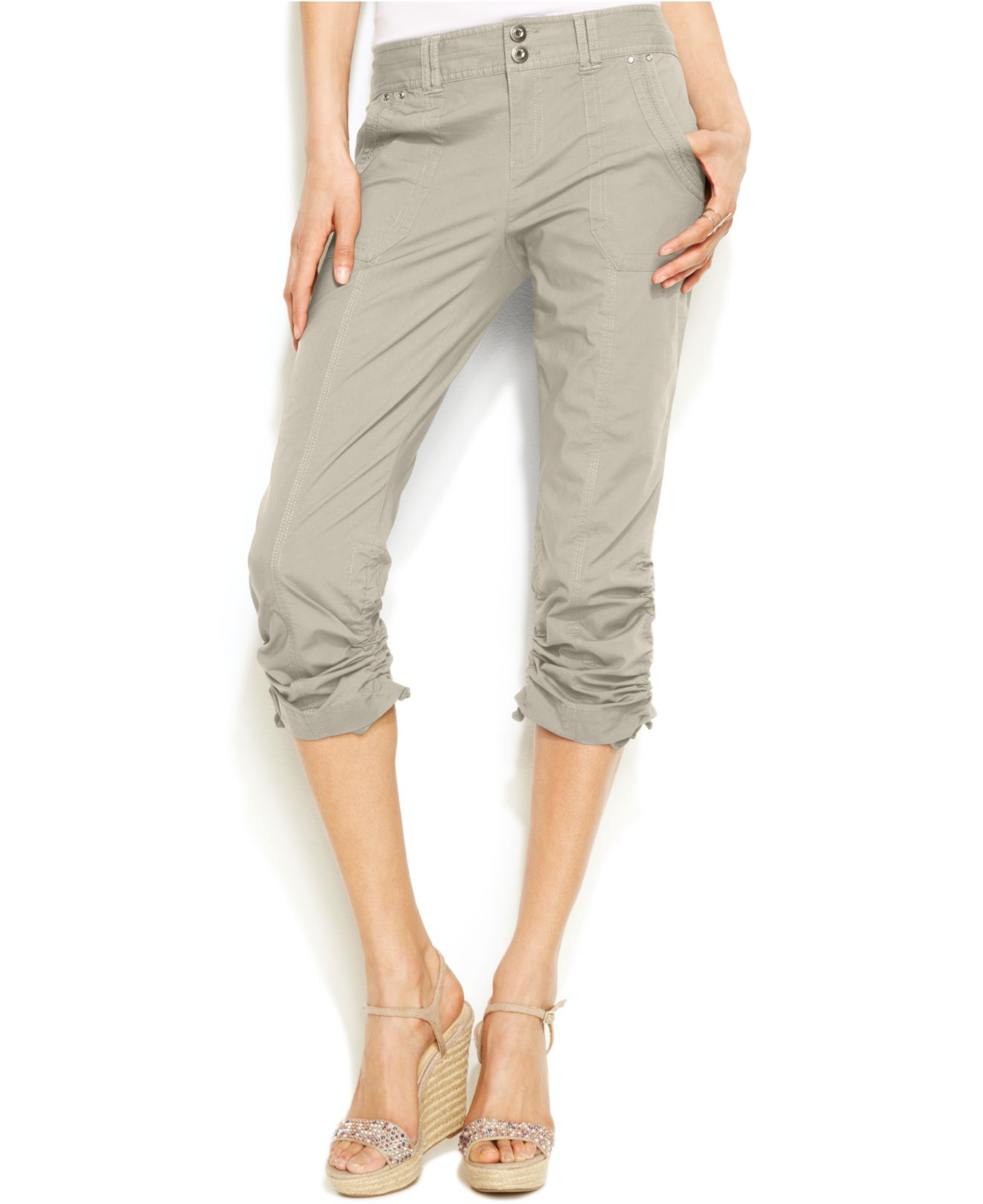Inc international concepts Ruched Capri Pants in Natural | Lyst
