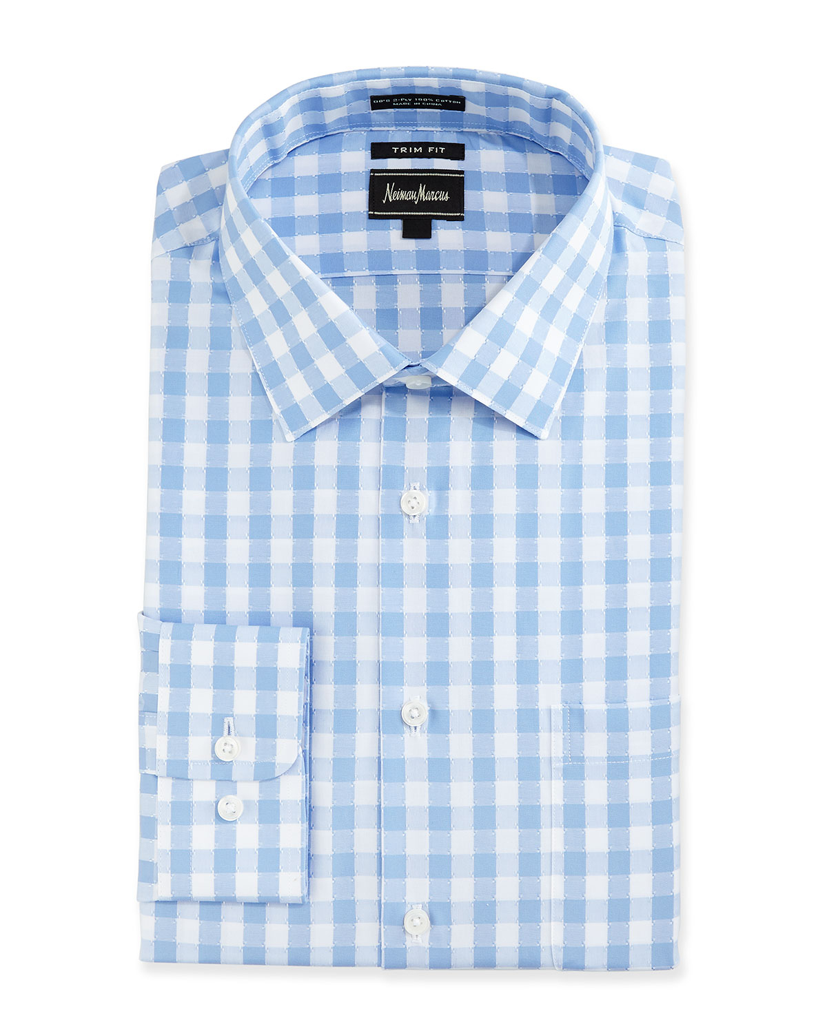 Lyst neiman marcus trim fit check dress shirt in blue for Blue check dress shirt
