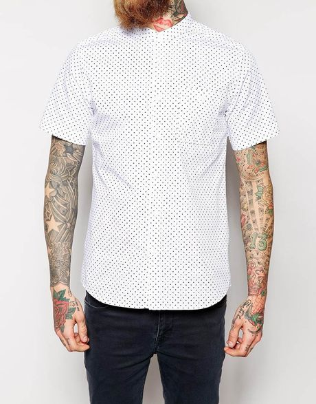 Asos shirt in short sleeve with polka dot print and for Mens polka dot shirt short sleeve