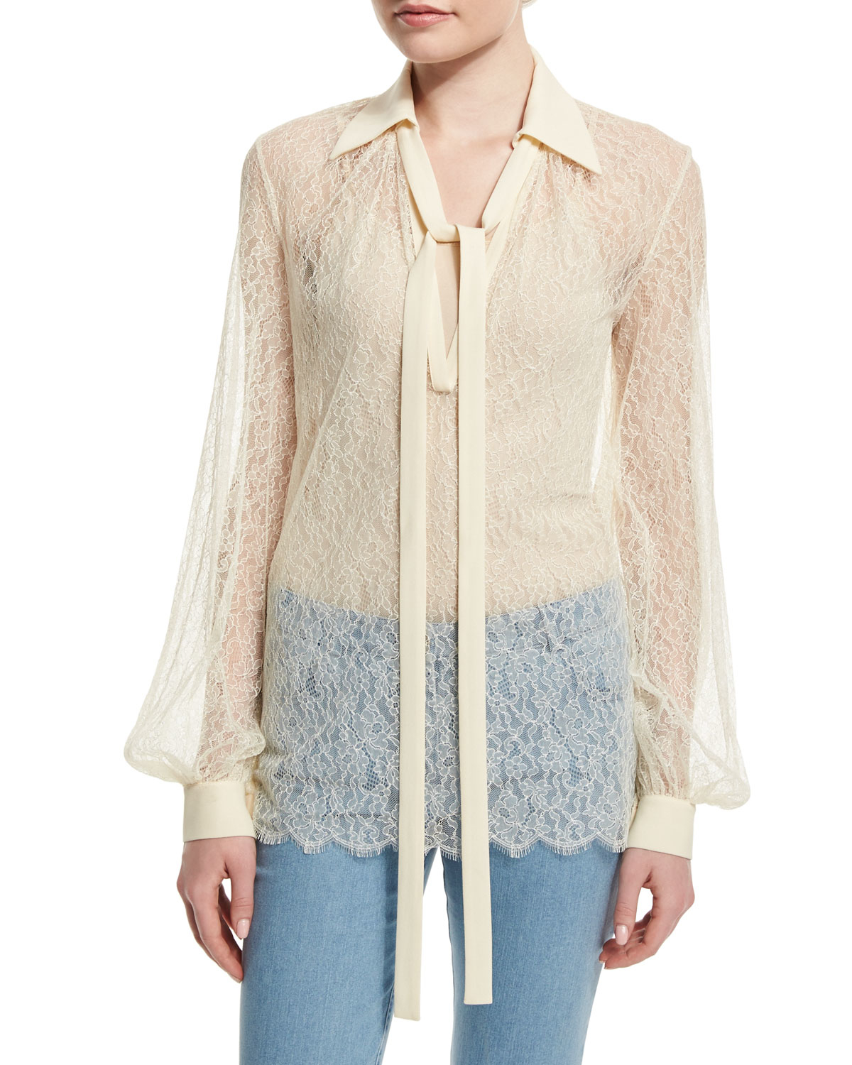 e15352628977a Lyst - Michael Kors Long-sleeve Self-tie Sheer Lace Blouse in Natural