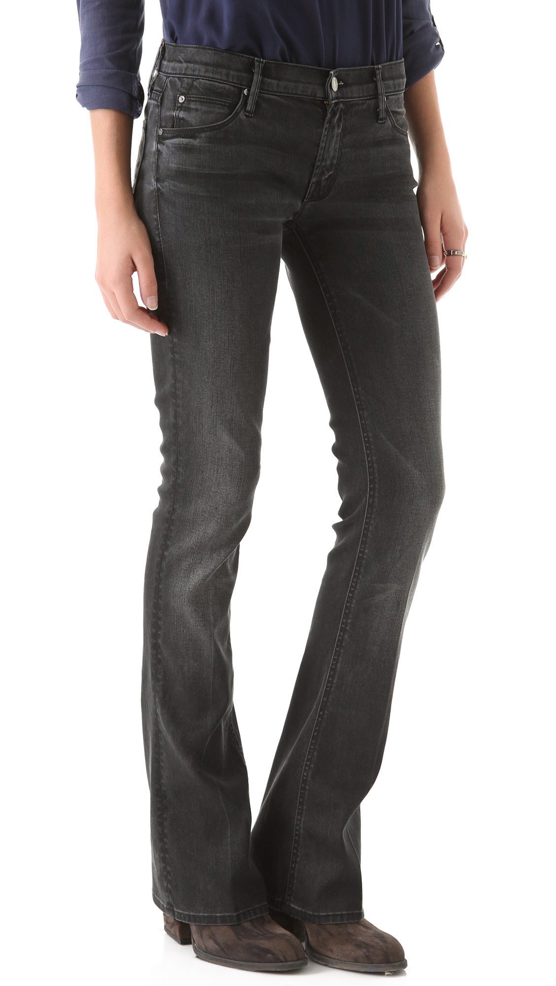 Mother Runaway Skinny Flare Jeans - Grey in Gray | Lyst