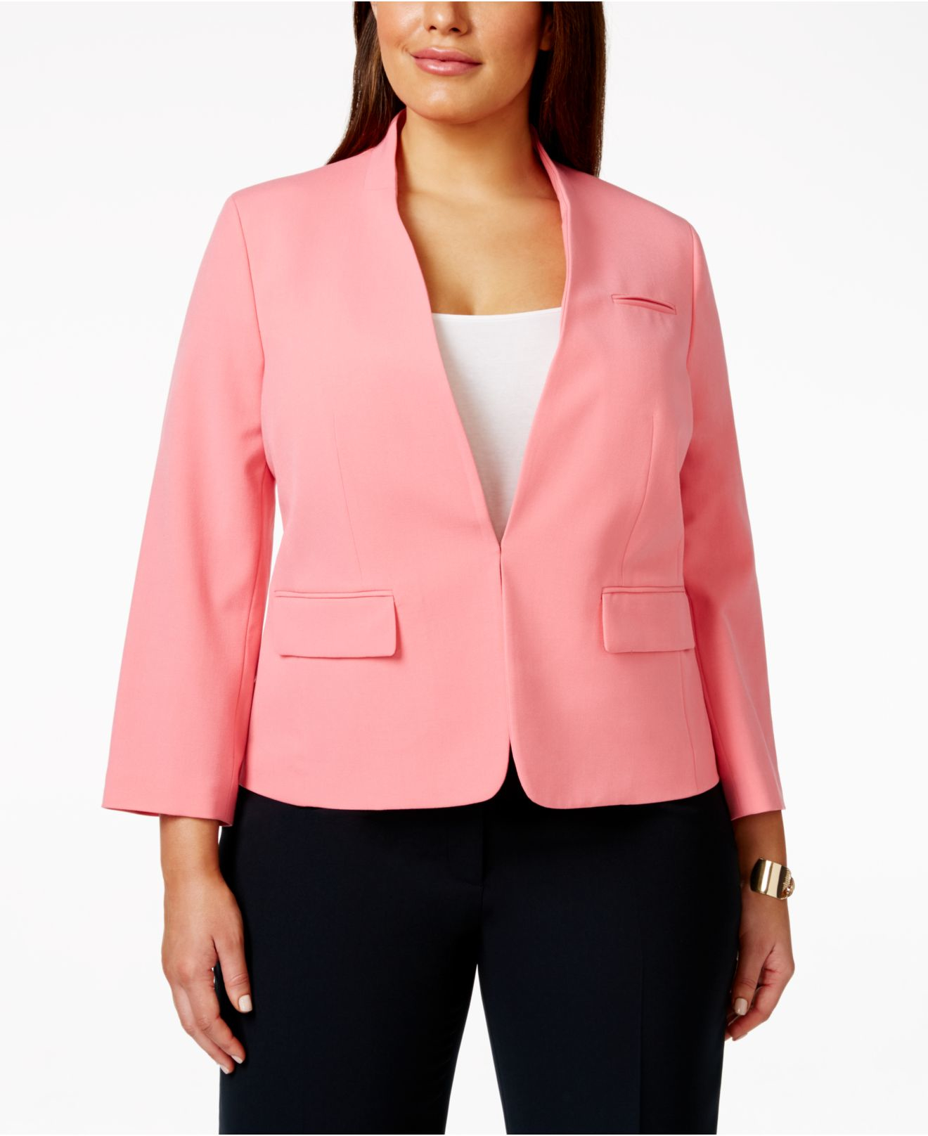 a2354ac6fc7 Lyst - Nine West Plus Size Collarless Long-sleeve Suit Jacket in Pink