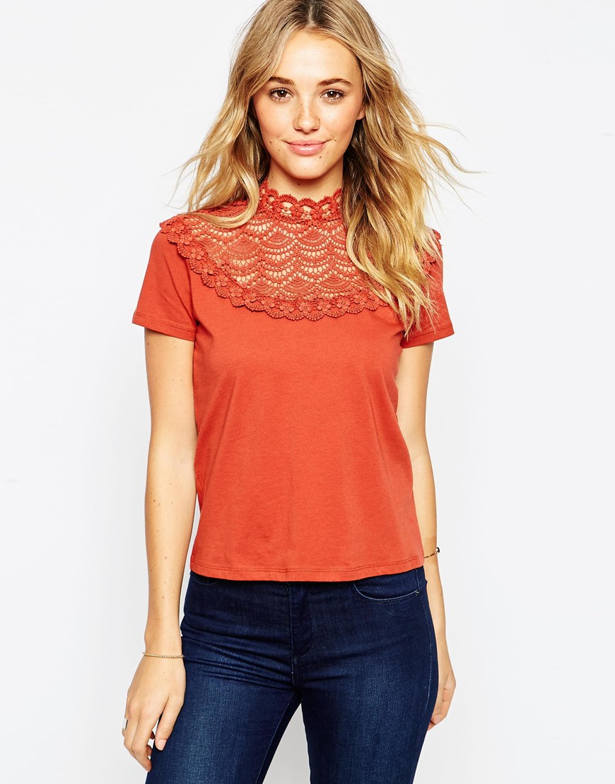 Lyst asos t shirt with crochet and high neck in brown for High neck tee shirts
