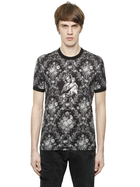 lyst dolce gabbana marie printed cotton t shirt in black for men. Black Bedroom Furniture Sets. Home Design Ideas