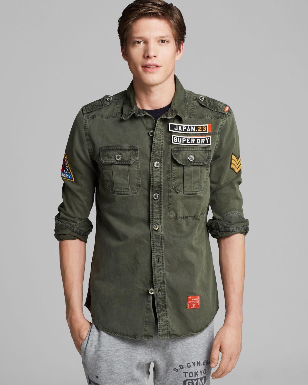 Lyst - Superdry Delta Long Sleeve Shirt in Green for Men