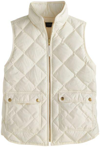 J Crew Excursion Quilted Down Vest In White Bright Ivory