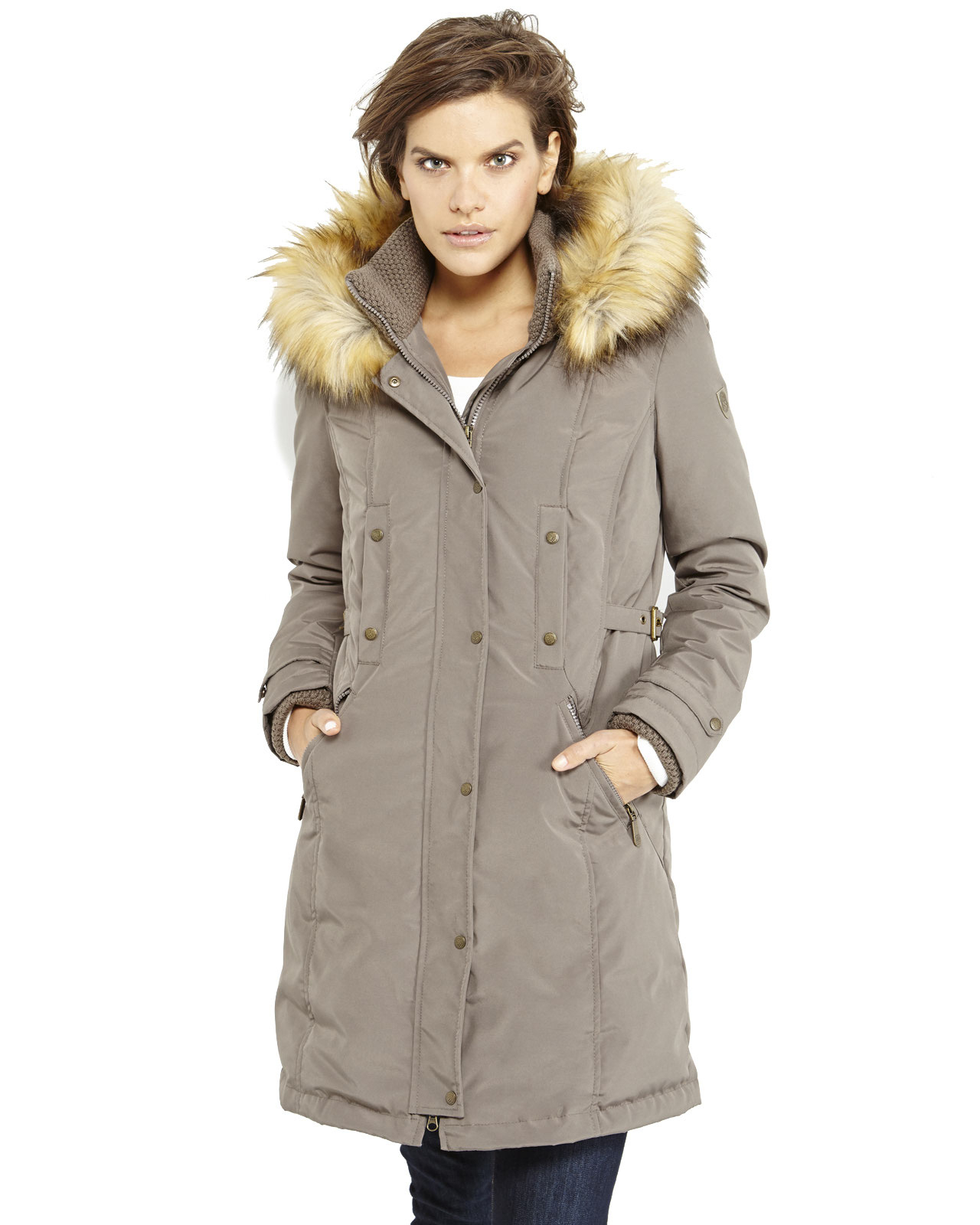 Vince camuto Faux Fur Trim Hooded Long Down Coat in Brown | Lyst