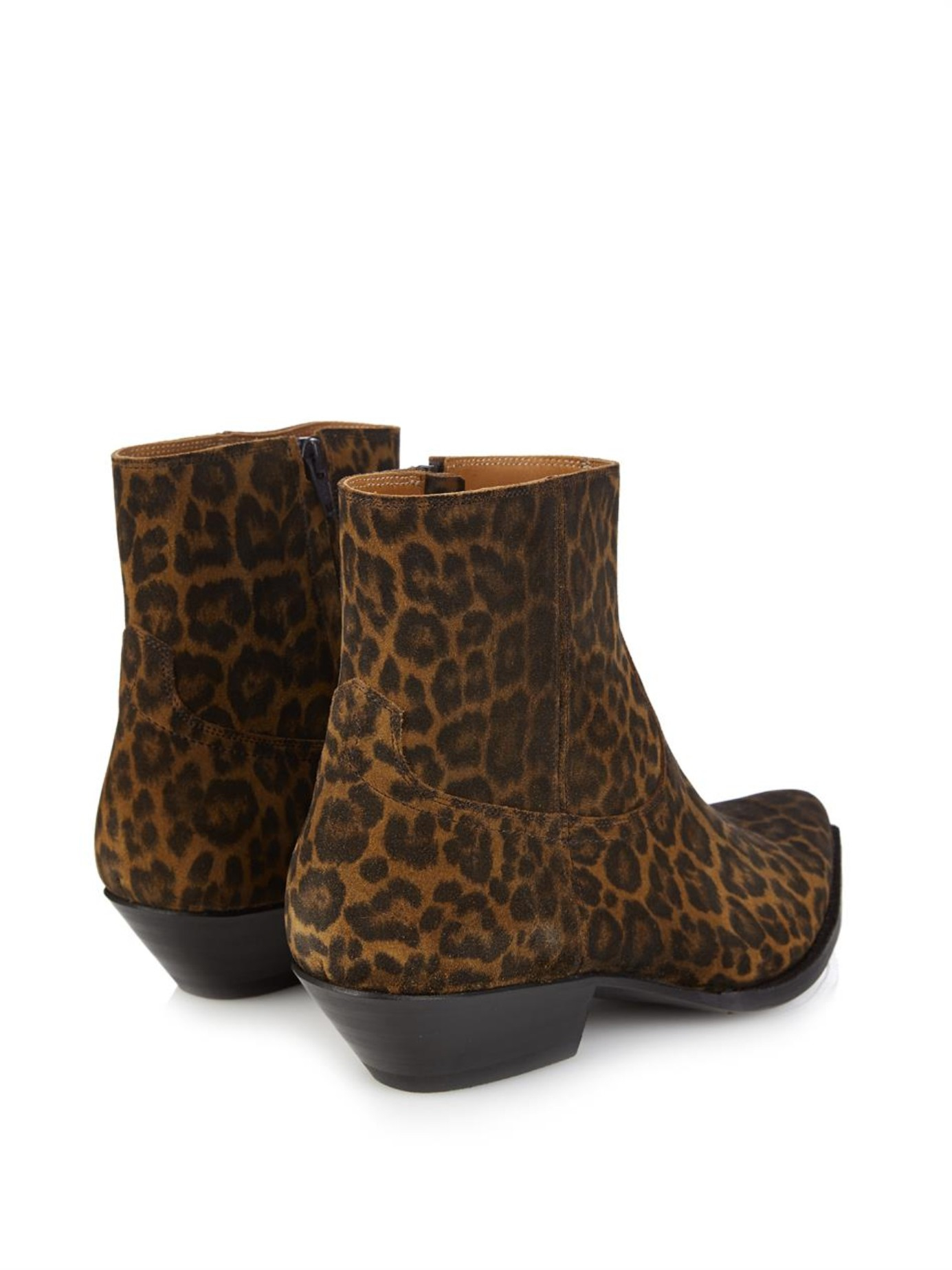 9b2977c1805 Saint Laurent Leopard-Print Suede Ankle Boots in Brown for Men - Lyst