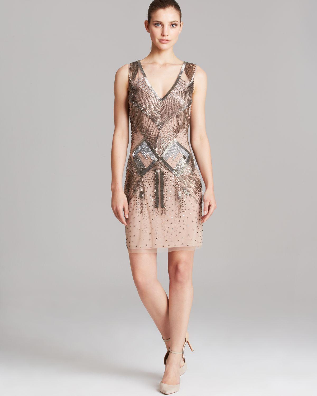 ef3cf0d3 Aidan Mattox Dress - Sleeveless V Neck Beaded Sheath in Pink - Lyst