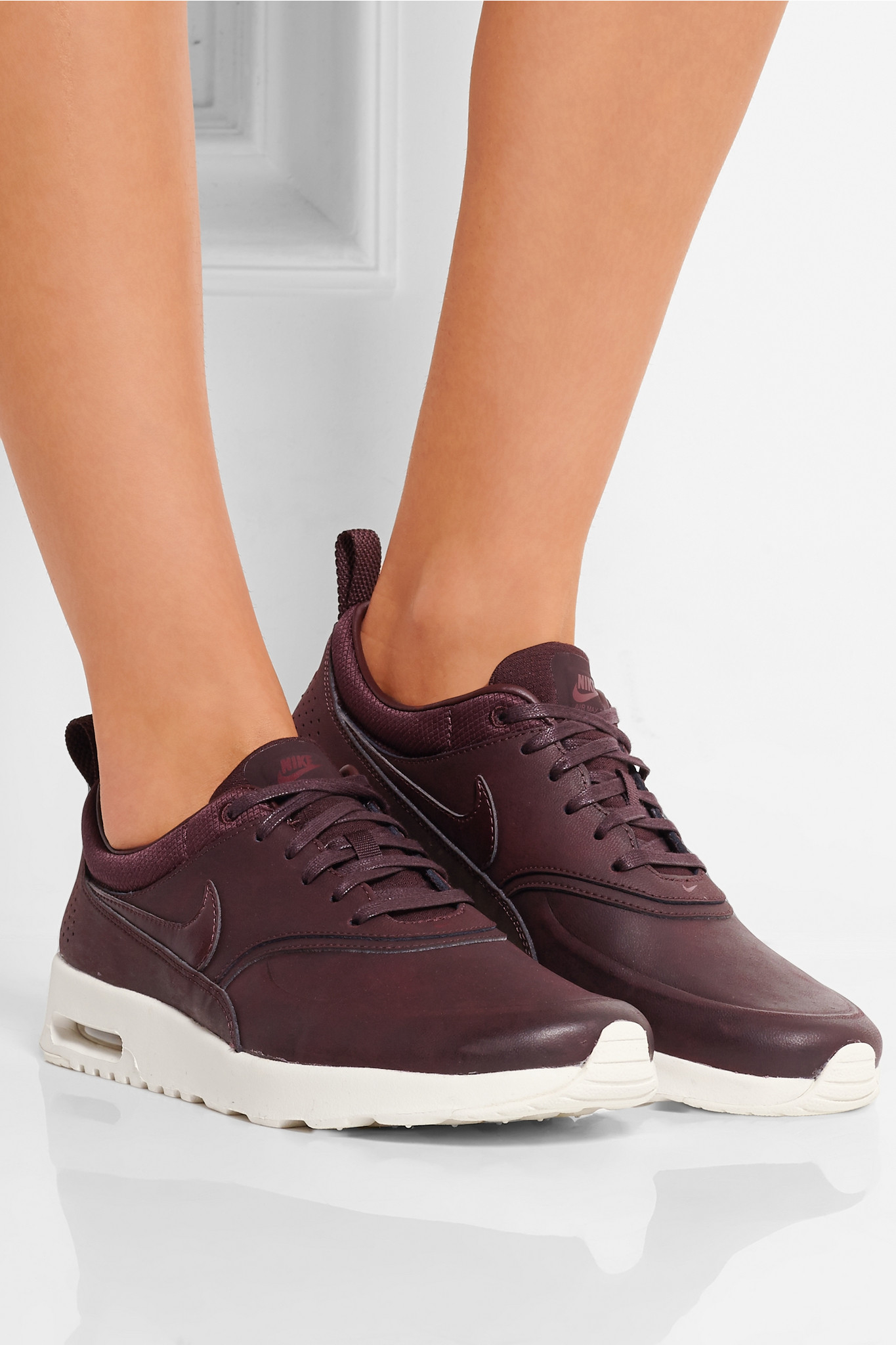 nike air max thea premium leather sneakers in purple lyst. Black Bedroom Furniture Sets. Home Design Ideas