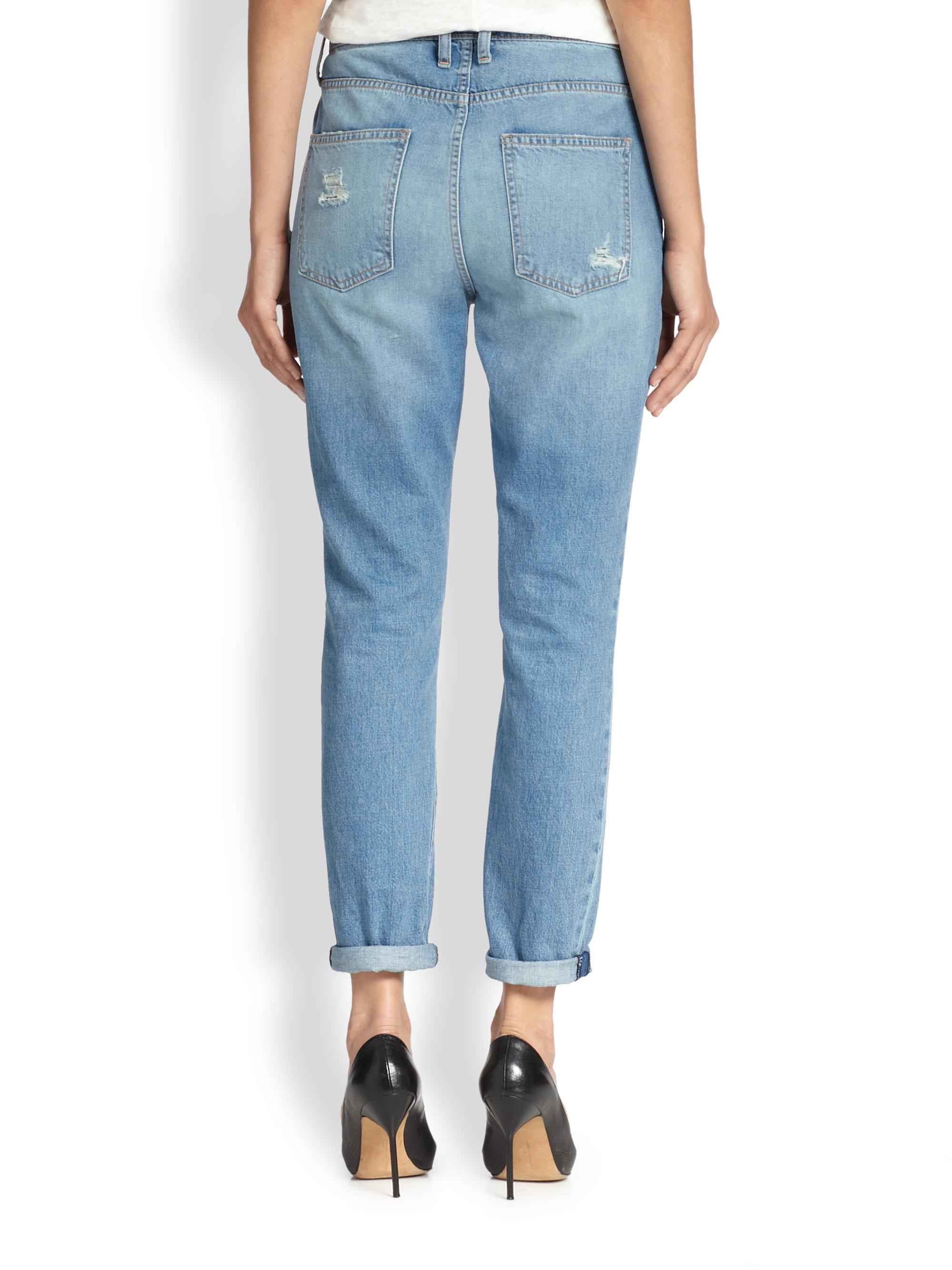 Current/elliott The Fling Patchwork Boyfriend Jeans in Blue | Lyst