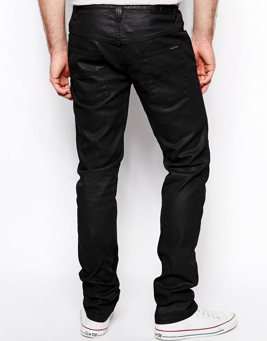 lyst nudie jeans thin finn slim fit back 2 black coated. Black Bedroom Furniture Sets. Home Design Ideas