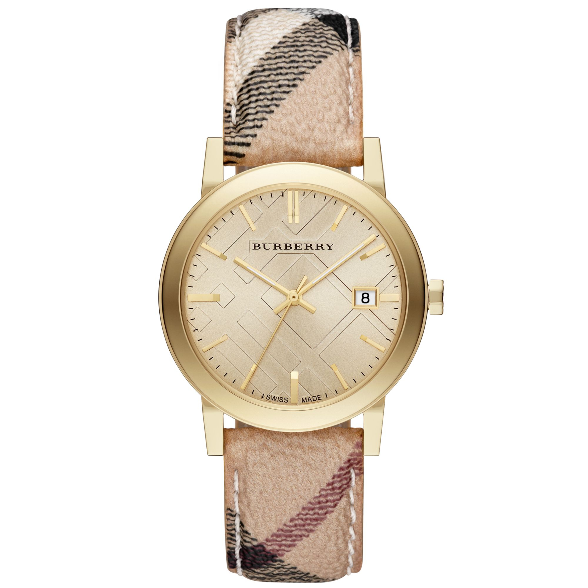 Burberry city goldtone stainless steel haymarket strap watch in natural lyst for Burberry watches