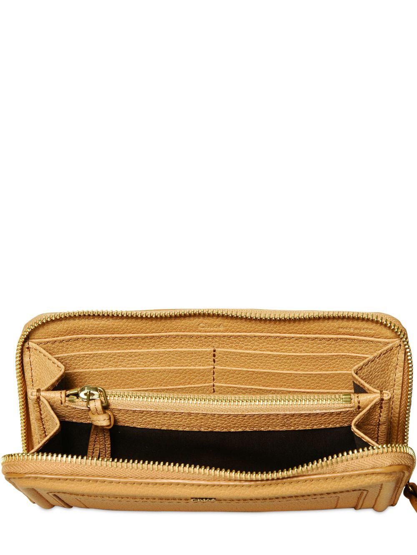 Authentic Chloe Paddington Long Zip Wallet Light Brown Leather