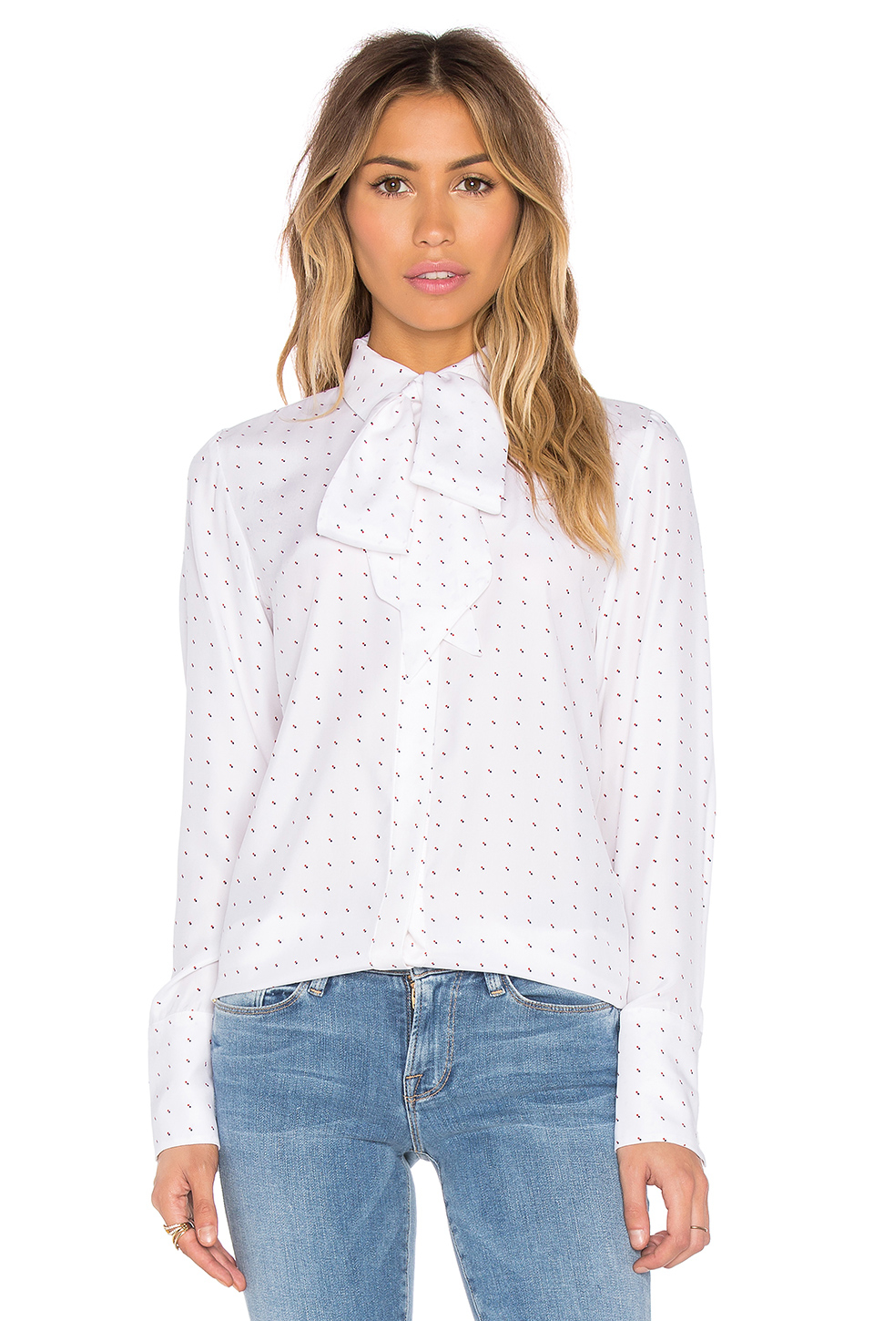 7f02d94200ec6 Lyst - FRAME Le Scarf Blouse in White