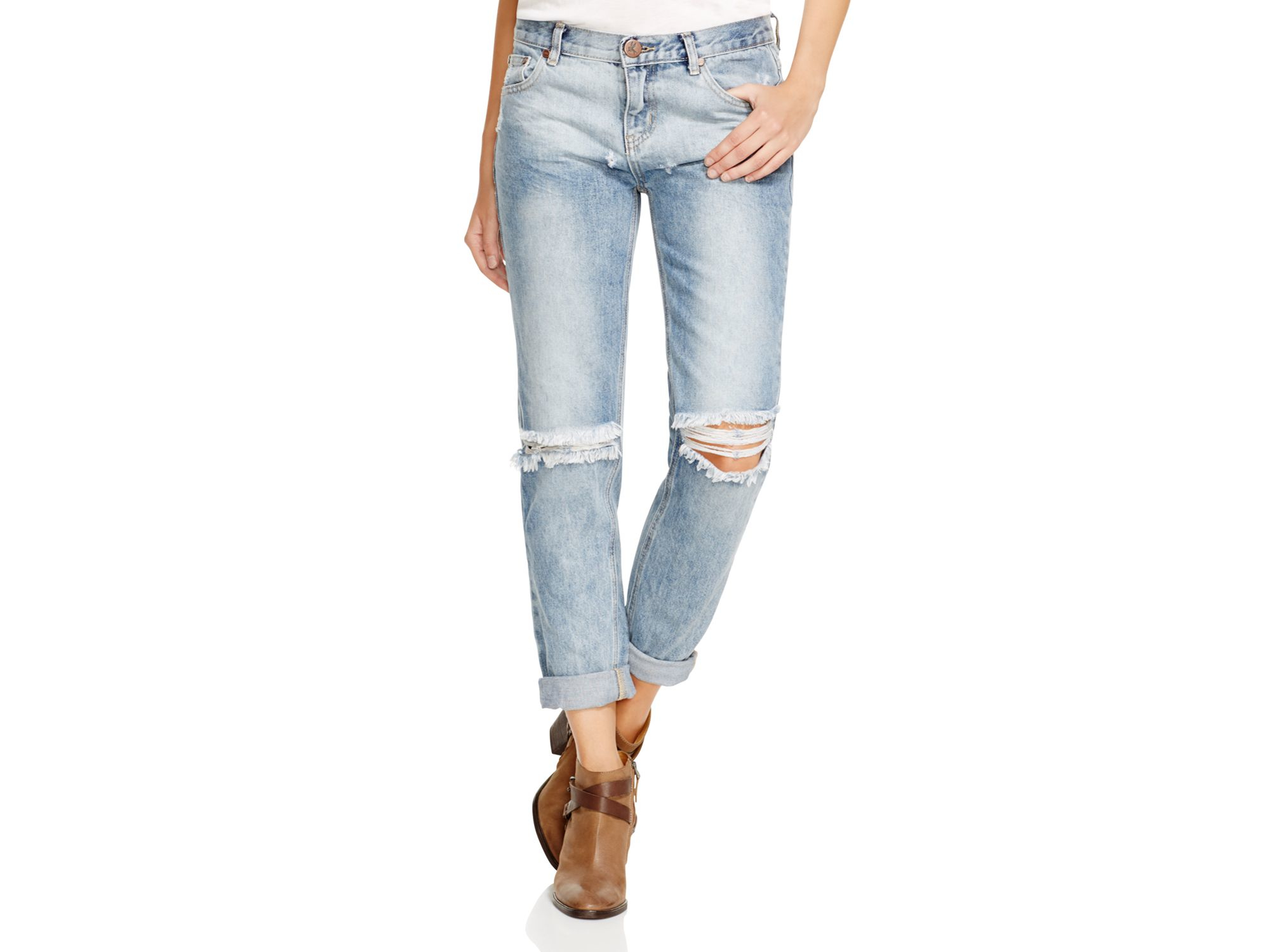one teaspoon awesome baggies distressed jeans in blue blossom in blue lyst. Black Bedroom Furniture Sets. Home Design Ideas