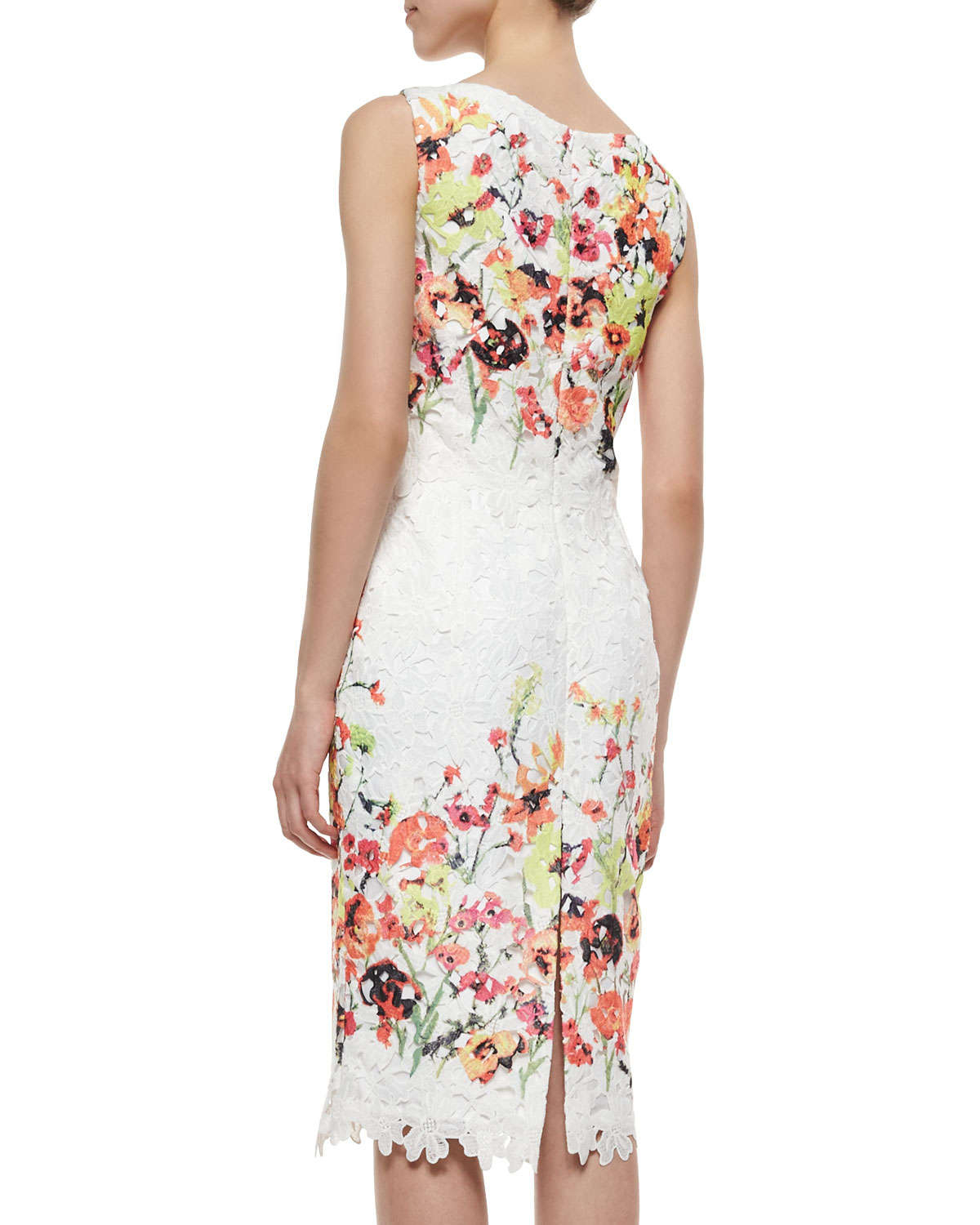 b1065406e82674 Lyst - Badgley Mischka Sleeveless Floral-Embroidered Lace Dress