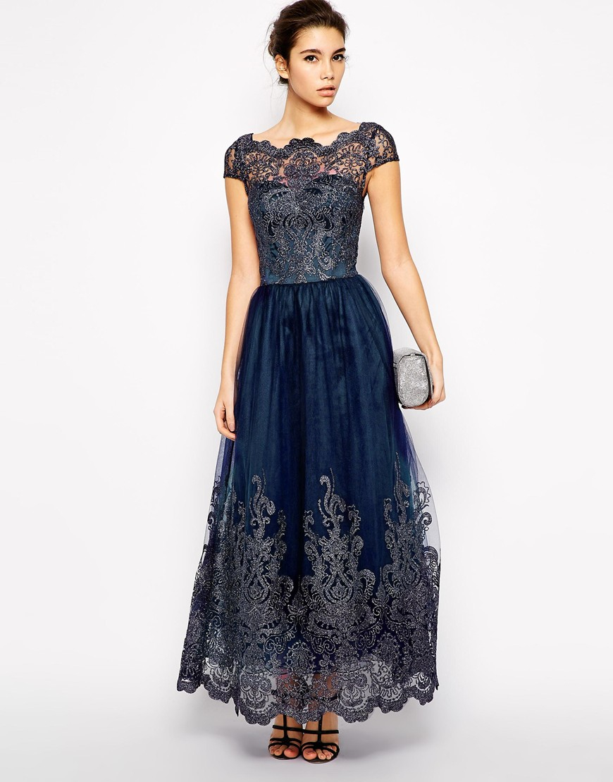 Chi Chi London Premium Metallic Lace Maxi Dress Lyst