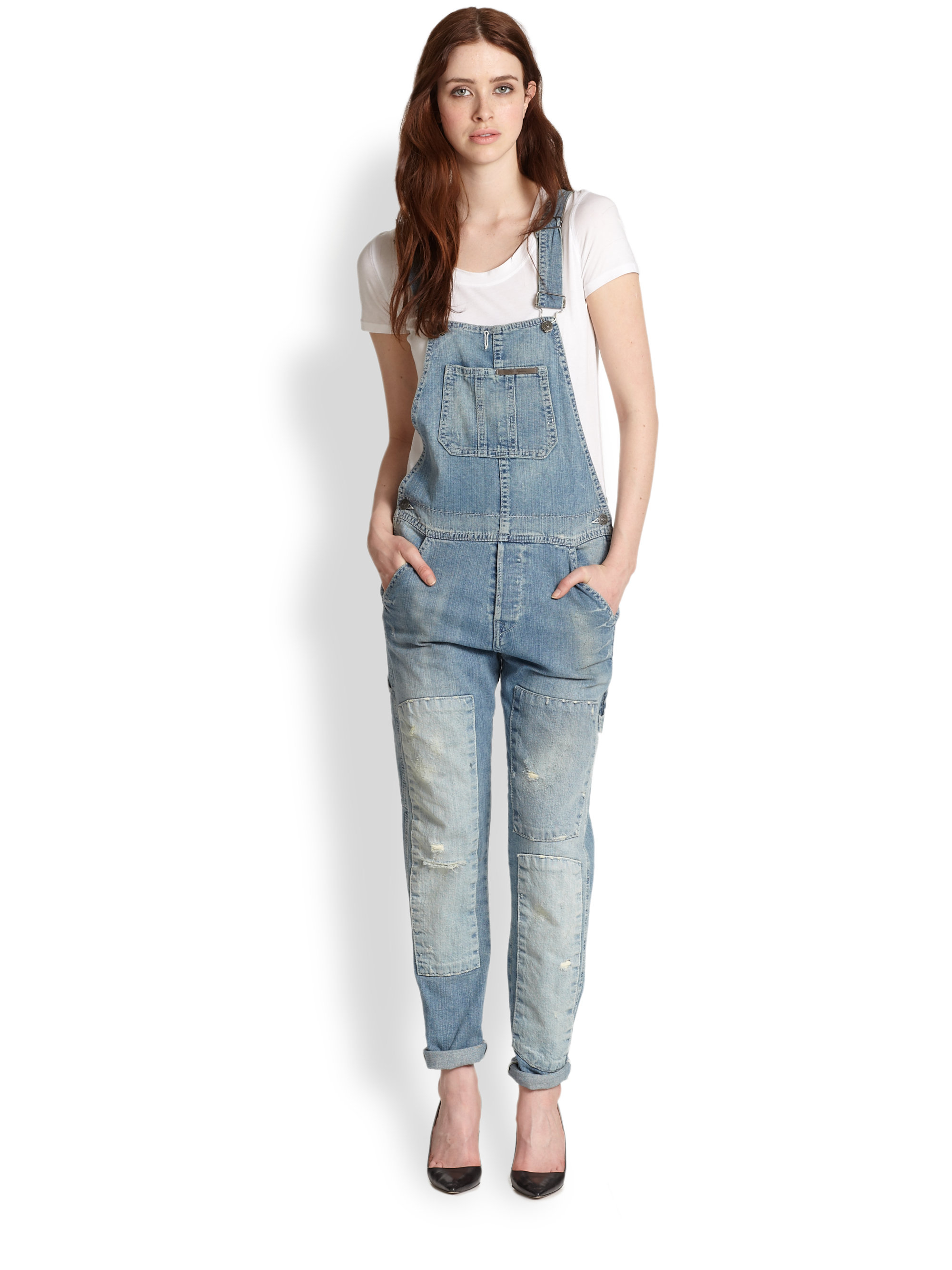 731c37d27b6d Lyst - True Religion Erin Distressed Denim Overalls In Blue