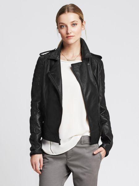 Banana Republic Black Leather Moto Jacket in Black | Lyst