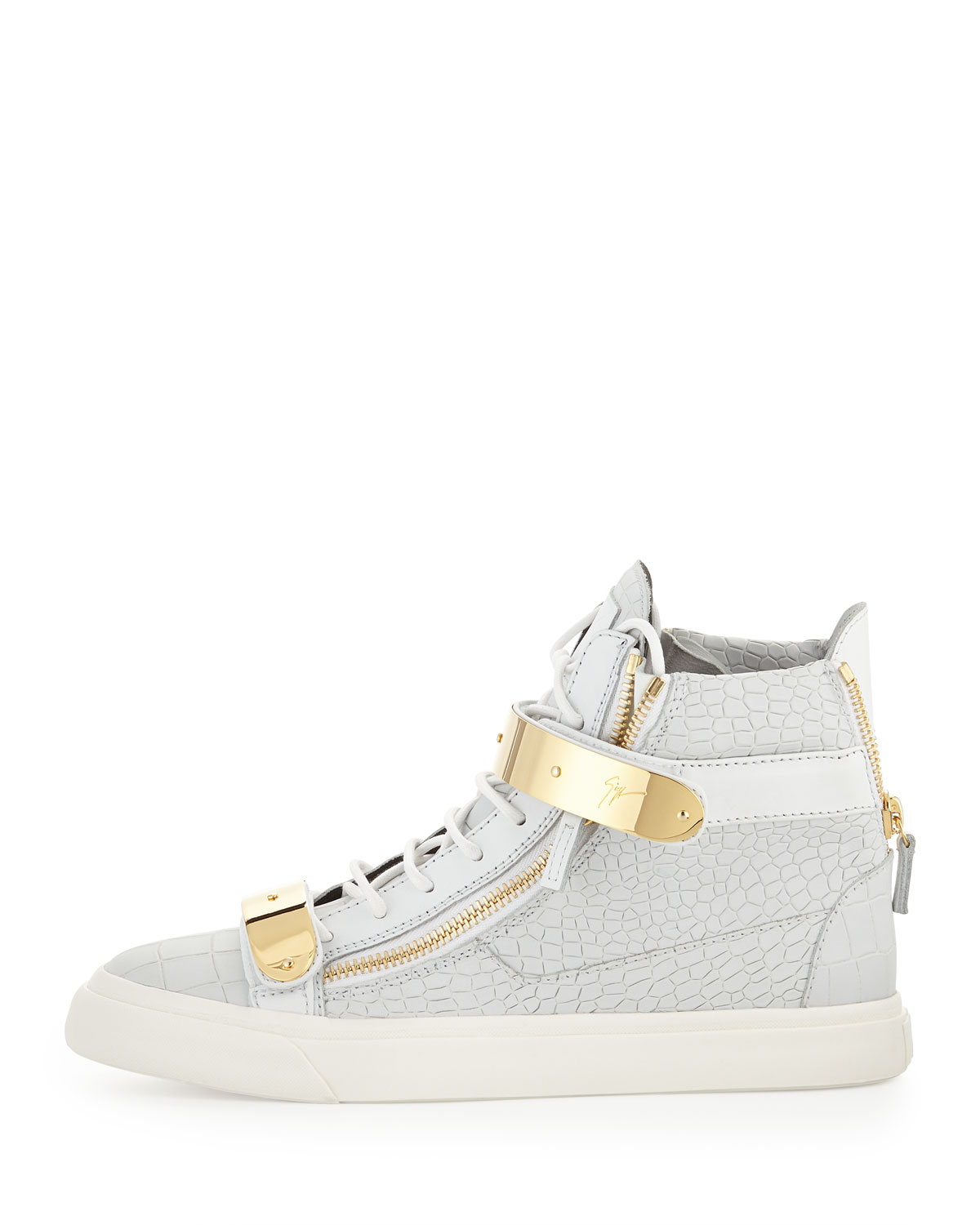 giuseppe zanotti mens plated high top sneakers in white