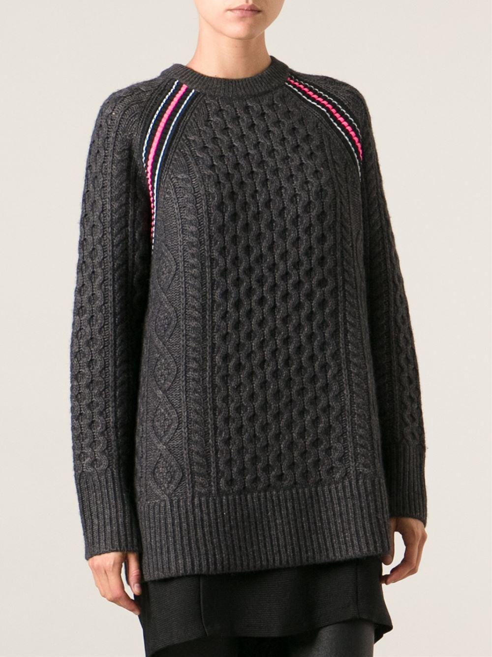 T by alexander wang Cable Knit Sweater in Gray | Lyst