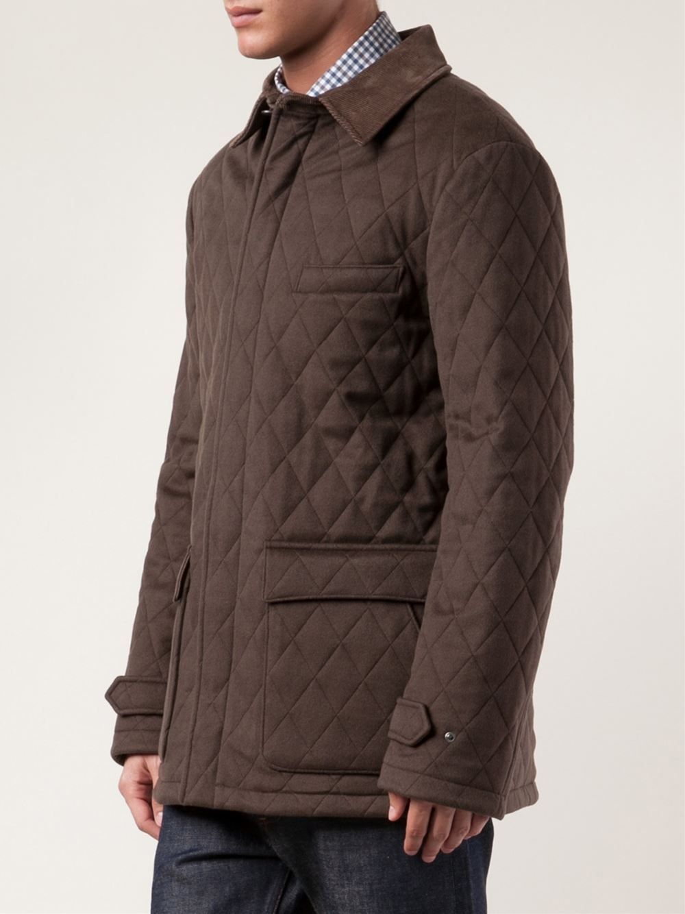 Loro piana Quilted Jacket in Brown for Men | Lyst