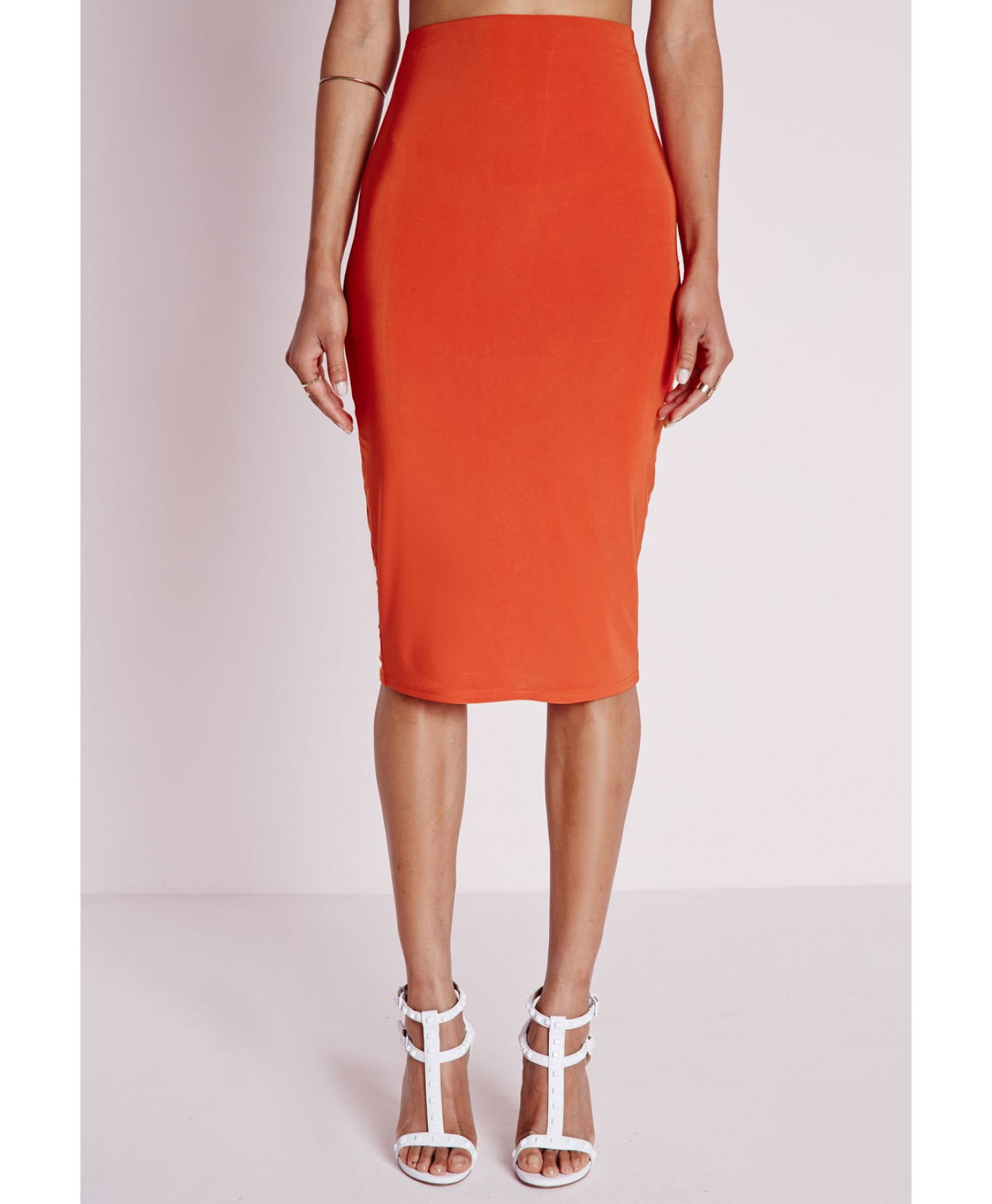 missguided ruched back slinky midi skirt orange lyst
