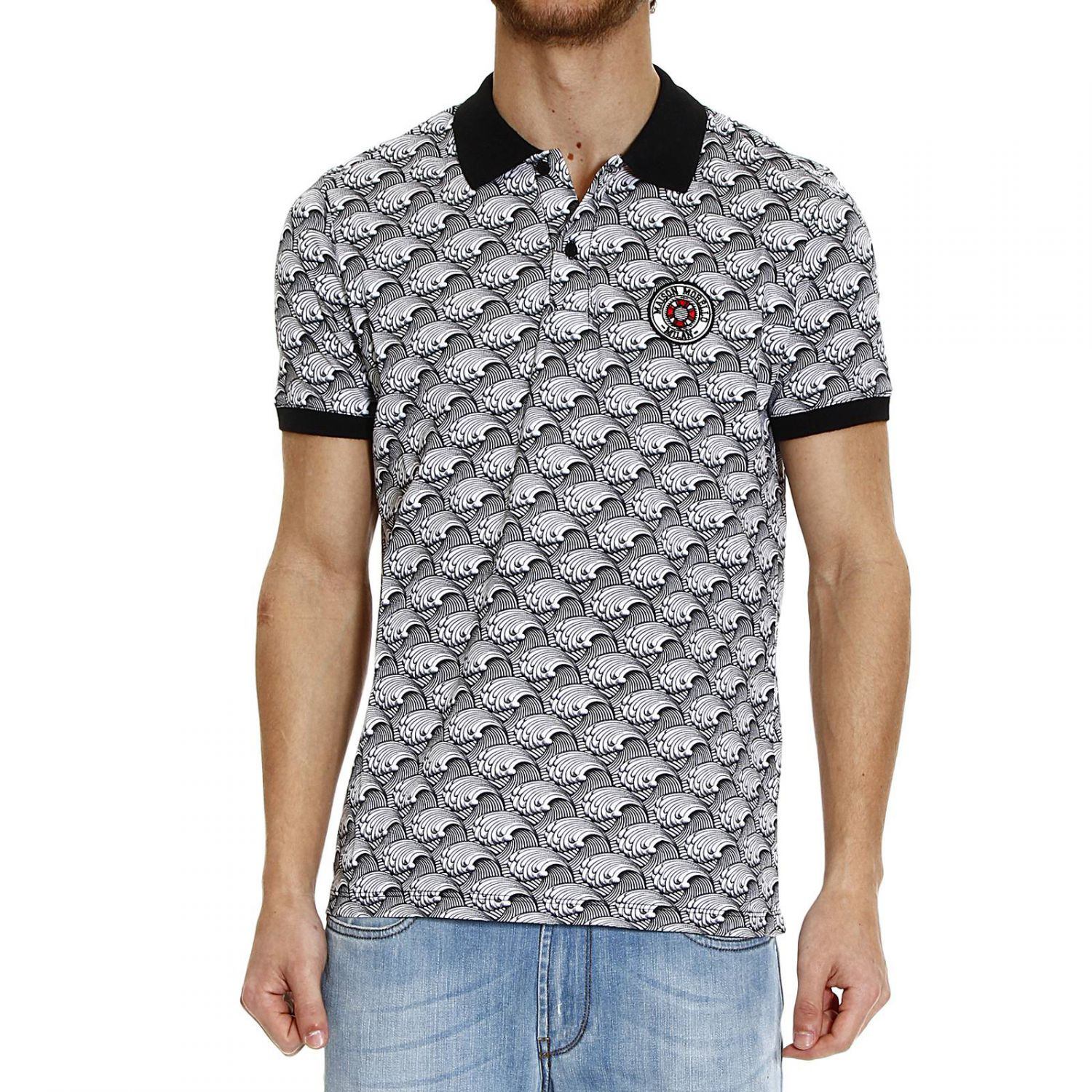 Lyst frankie morello waves printed piquet half sleeve for Full sleeve polo t shirts