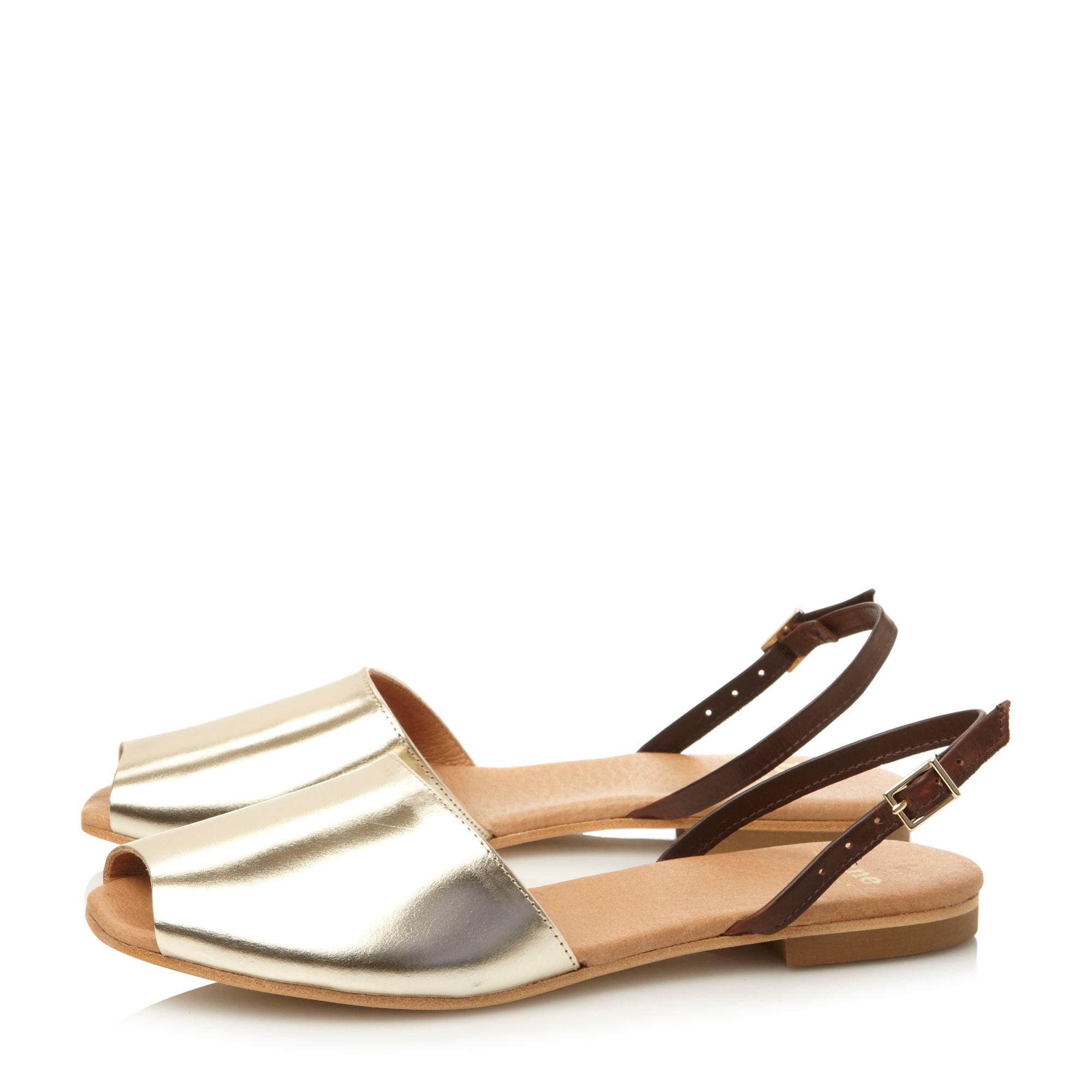 Dune Black Leticia Leather Peeptoe Flat Shoes In Metallic   Lyst