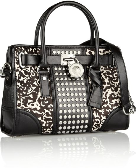Michael By Michael Kors Hamilton Black Studded Tote Shoulder Bag 34