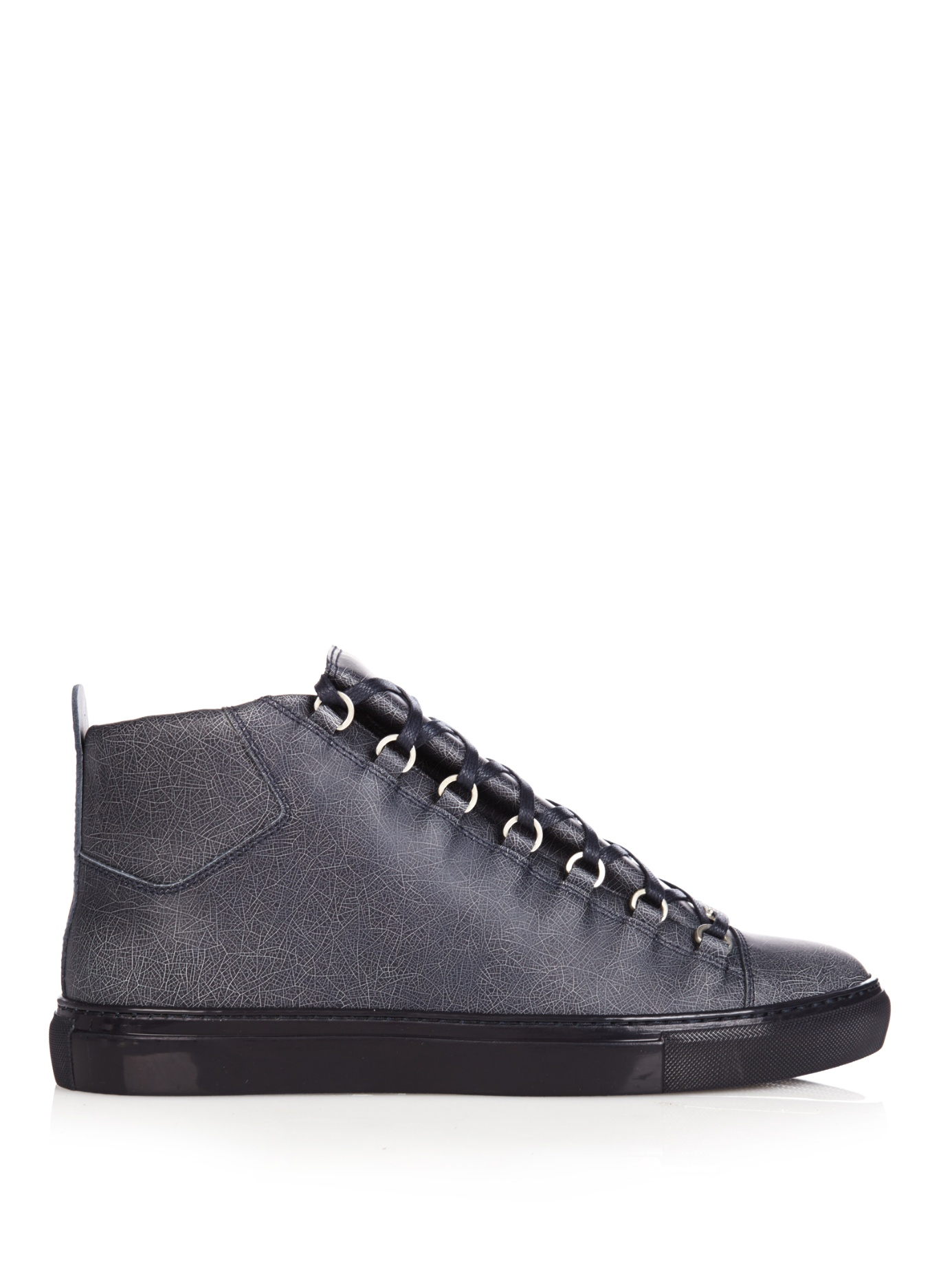 balenciaga arena hightop crackedleather trainers in blue