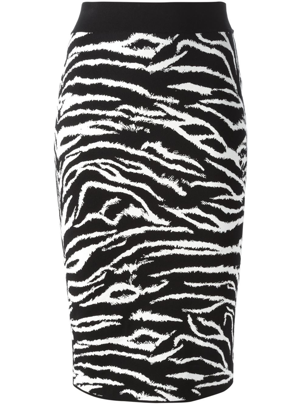 fausto puglisi zebra intarsia pencil skirt in black lyst