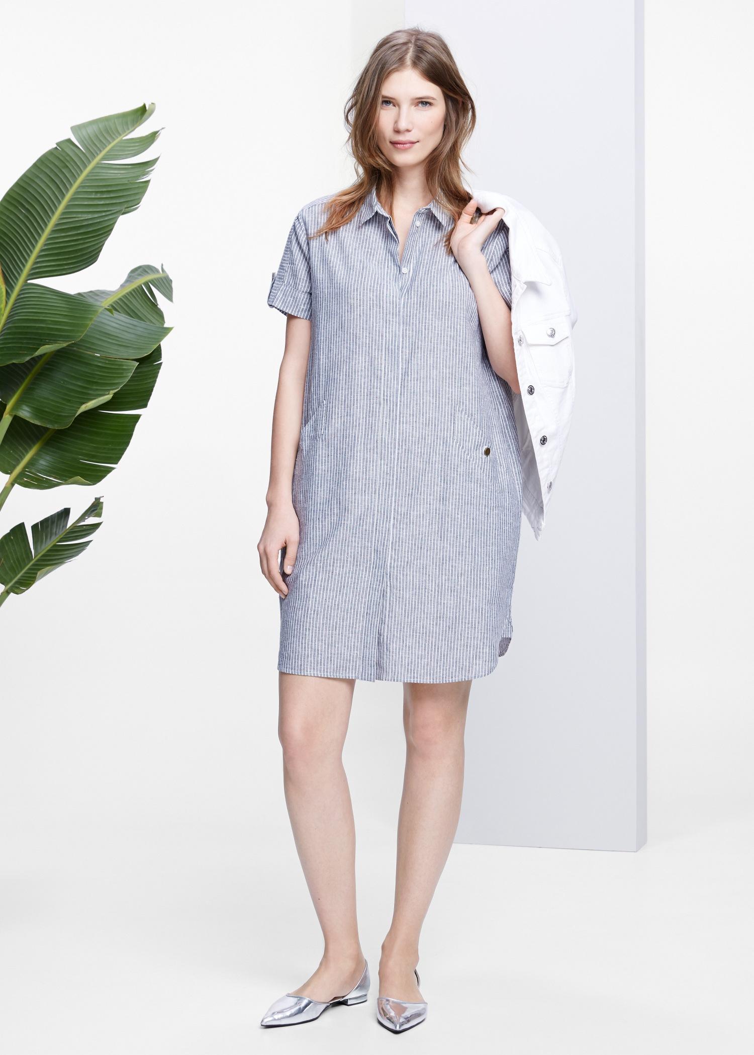 dd06a917e2 Lyst - Violeta by Mango Striped Linen-Blend Dress in Blue