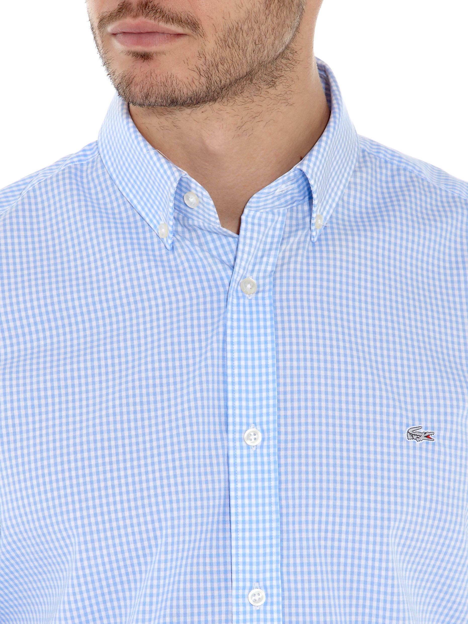 a758fda8 Lacoste Small Gingham Check Shirt in Blue for Men - Lyst