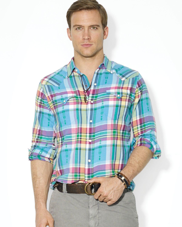 Ralph lauren polo plaid classic western button down shirt for Polo ralph lauren casual button down shirts