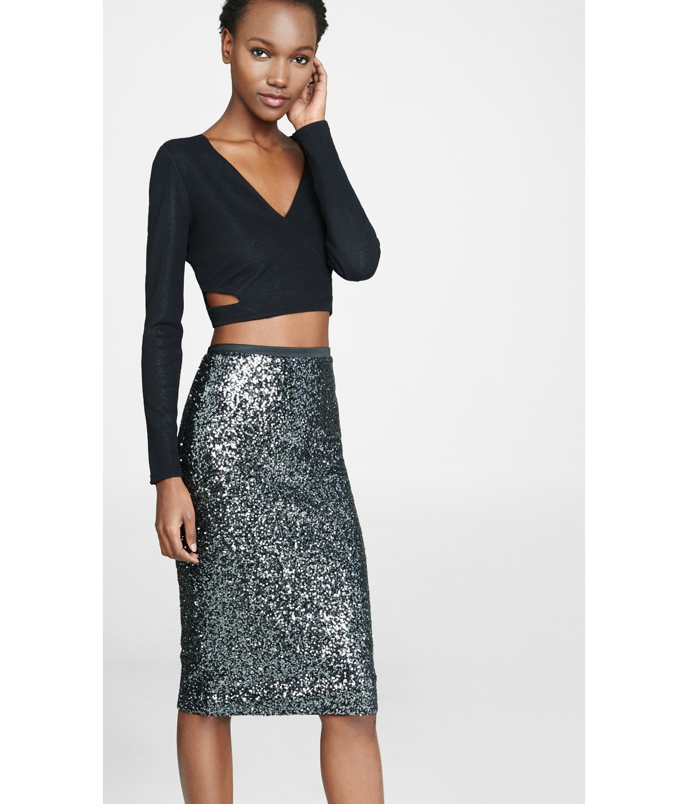 express high waisted sequined pencil skirt in black pitch