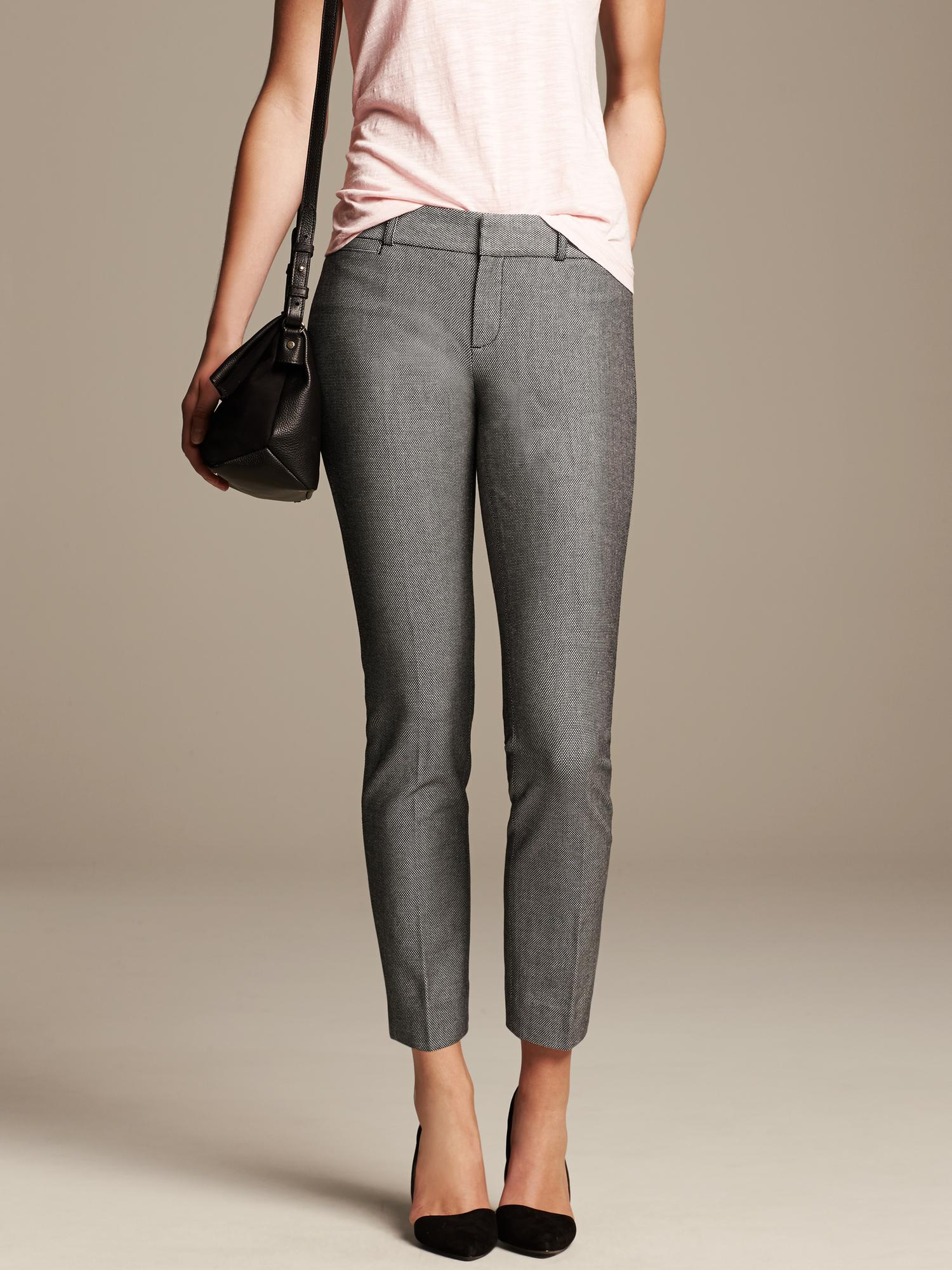 Banana republic Sloan Fit Black And White Slim Ankle Pant