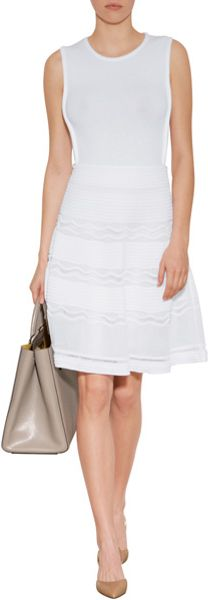 M Missoni Patterned Knit Fit And Flare Dress In White Lyst