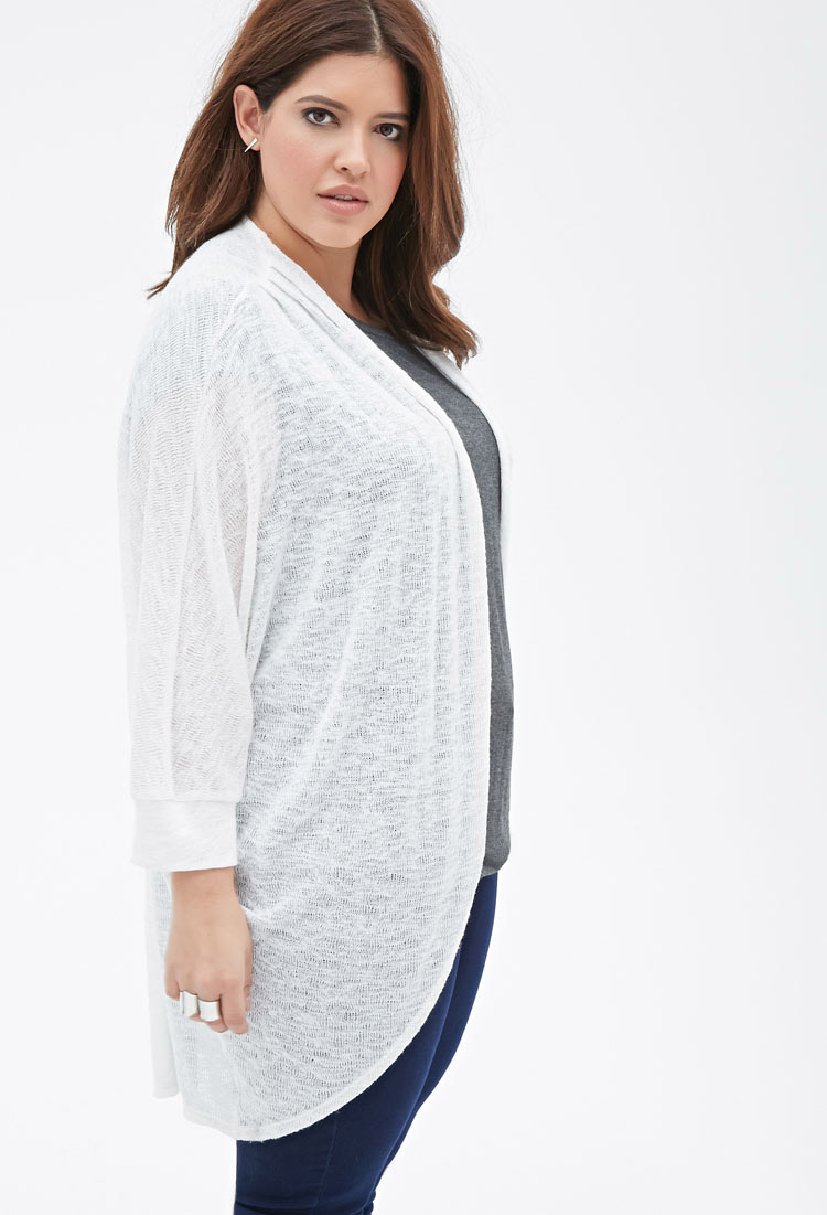Forever 21 Plus Size Longline Dolman Cardigan in Natural | Lyst