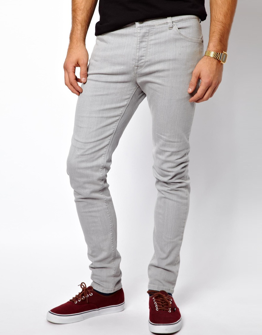 Asos Skinny Jeans In Mid Grey in Gray for Men | Lyst