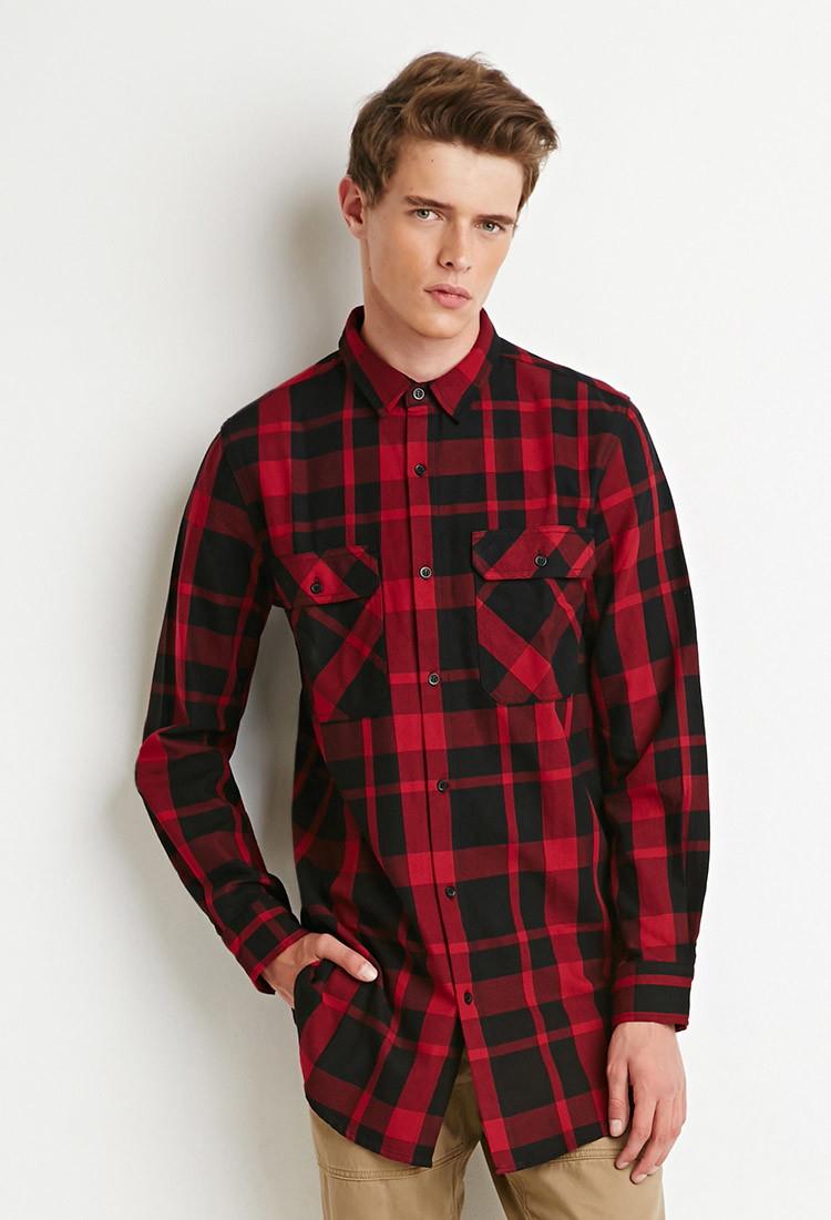 Lyst forever 21 longline plaid shirt in black for men for Mens black plaid dress shirt