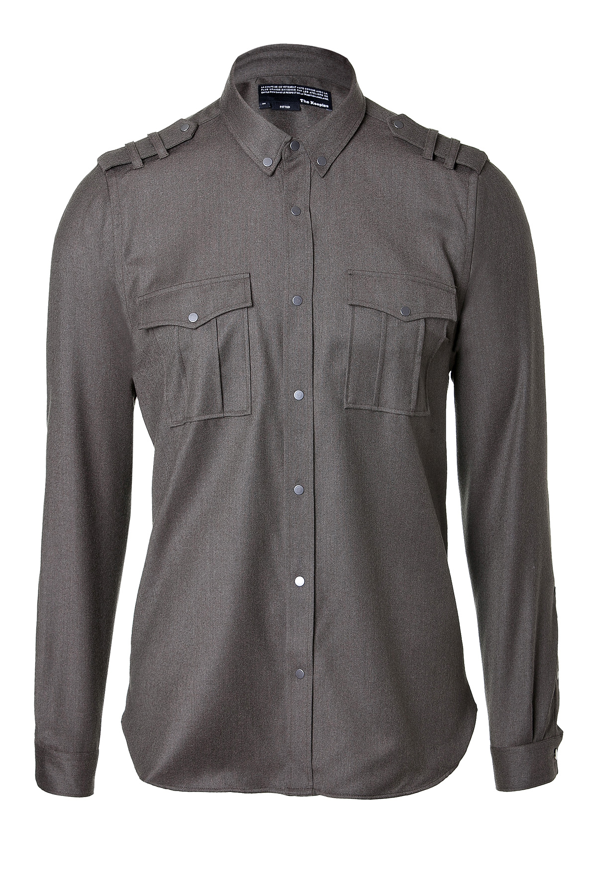 Lyst the kooples military inspired wool button down in for Wool button down shirt