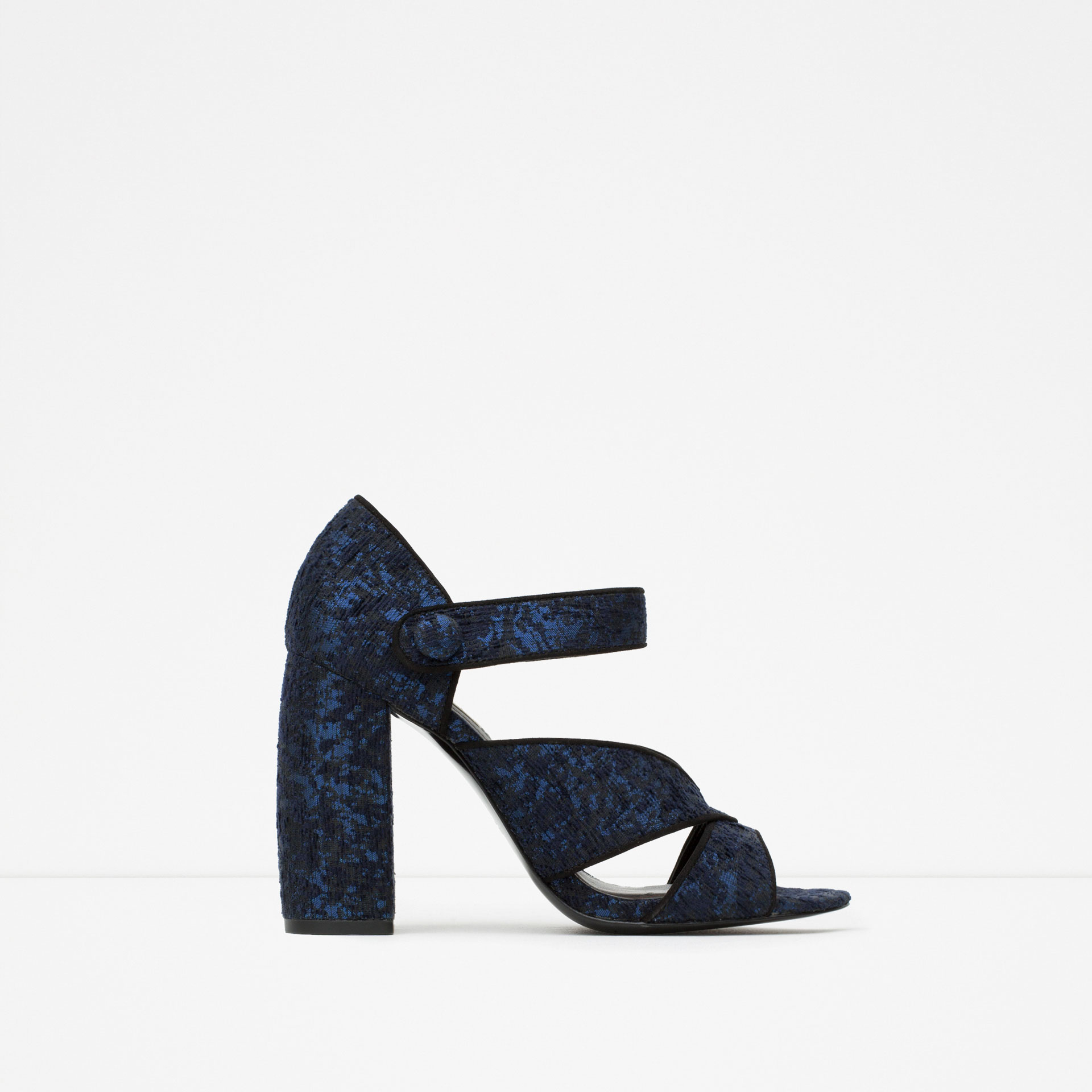 Zara Block Heel Sandals in Blue | Lyst