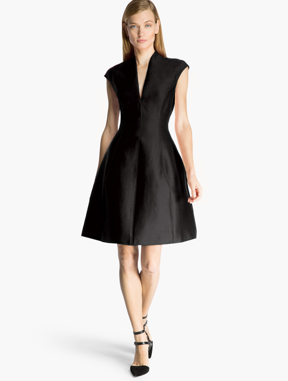 Lyst Halston Structured Silk Faille Dress In Black