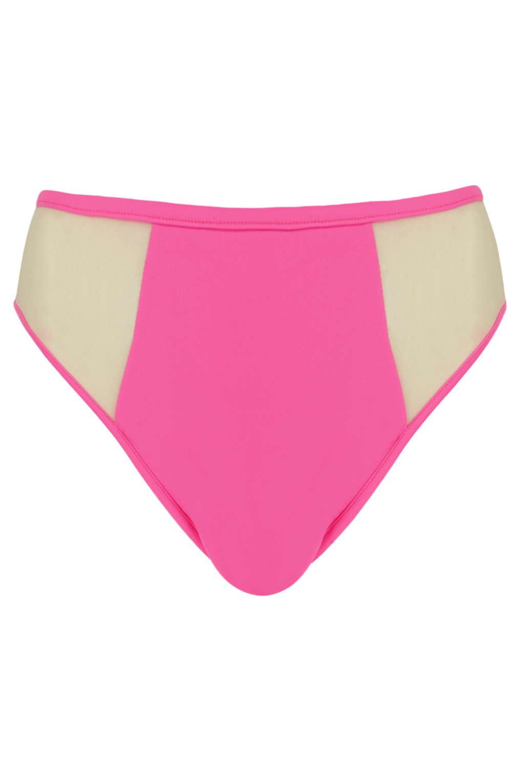74bdb3b3c02c6 Topshop Neon Pink Mesh Insert High Leg Bikini Bottoms By Jaded ...