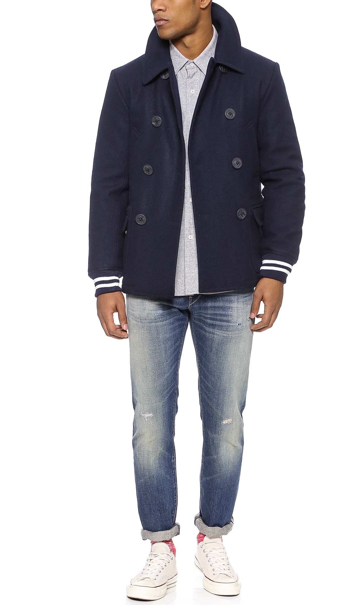 93406ade403 Woolrich woolen mills blue varsity pea coat product normal jpg 1128x2000 Woolrich  dock coat