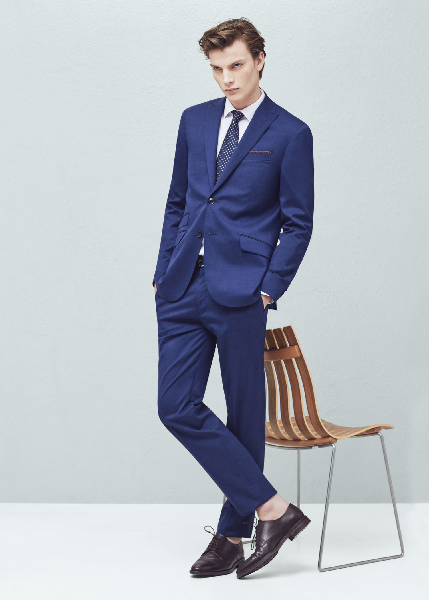 Mango Slim-fit Wool Suit Blazer in Blue for Men | Lyst