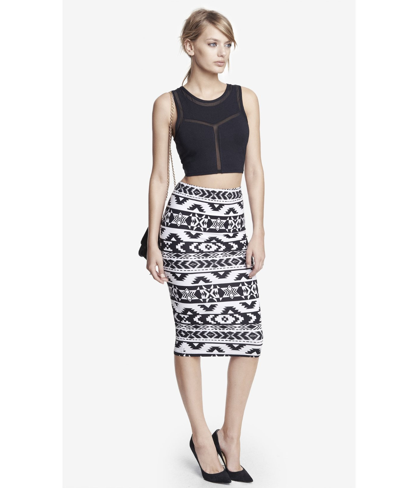 Express Knit Aztec Print Midi Pencil Skirt in White | Lyst